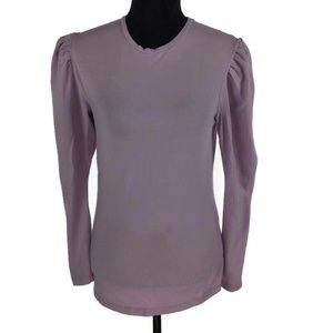 ASOS Purple Ruched Top Long Sleeve Cotton Stretch